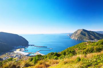 View of Saiki around Motosaru bay in Oita, Japan