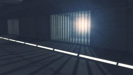 3d render. Futuristic jail corridor