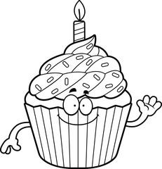 Cartoon Birthday Cupcake Waving