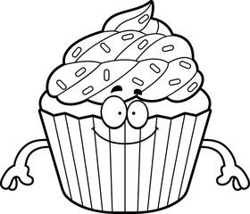 Happy Cartoon Cupcake