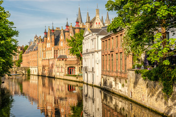 Foto op Canvas Brugge Bruges (Brugge) cityscape with water canal