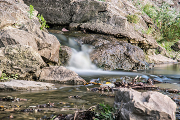 Water stream, long time photo exposure