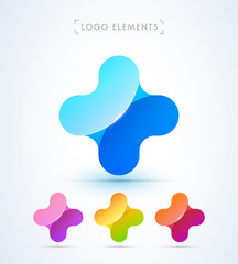 Abstract plus symbol logo icon. Material design style. Color bright gradient