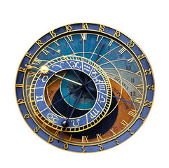 Fototapete - Old astronomical clock isolated on white. Prague astronomical clock at the Old Town City Hall from 1410 is the third oldest astronomical clock in the world