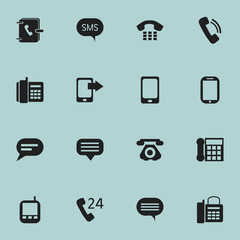 Set Of 16 Editable Gadget Icons. Includes Symbols Such As Message, Office Telephone, Smartphone And More. Can Be Used For Web, Mobile, UI And Infographic Design.