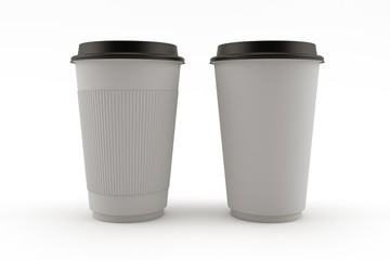 3D render of a paper Cup in gray color isolated on white background