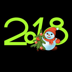 Happy New Year and Merry Christmas 2018 greeting card. Snowman and Christmas tree.