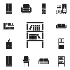 Set Of 12 Editable Interior Icons. Includes Symbols Such As Davenport, Stool, Cabinet And More. Can Be Used For Web, Mobile, UI And Infographic Design.