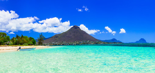 Tuinposter Eiland Beautiful Mauritius island with gorgeous beach Flic en flac