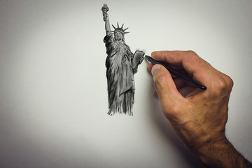 Drawing of the Statue of Liberty