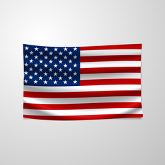 United States Flag Vector Closeup Illustration. The national flag of USA. The symbol of the state on wavy silk fabric. Realistic vector illustration.