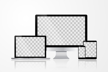 Realistic Computer, Laptop, Tablet and Mobile Phone with White Wallpaper Screen Isolated. Set of Device Mockup Separate Groups and Layers. Easily Editable Vector.
