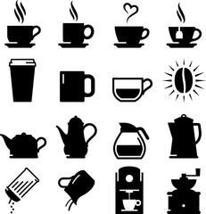 Coffee And Tea Icons - Black Series
