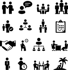 Employment Situations Icons - Black Series