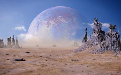 alien planet landscape with strange rock formations