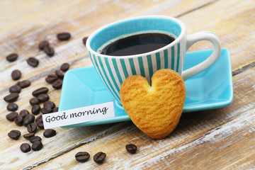 Good morning card with cup of coffee and heart shaped crunchy cookie