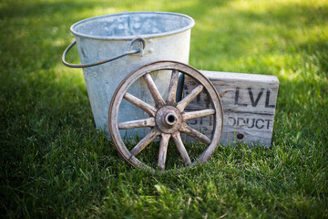 Vintage farm relics in grouping on green grass lawn