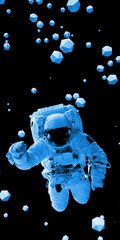 astronaut flying between icosahedron objects in front of a black background
