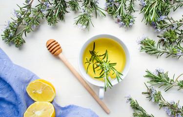 Rosemary tea with lemon top view