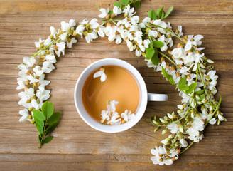 Acacia herbal tea and flowers