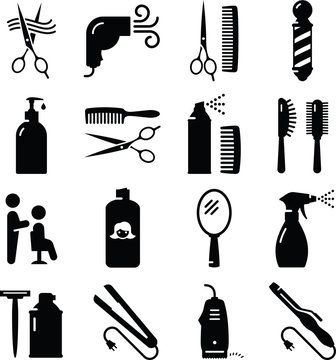 Hair Care Icons - Black Series