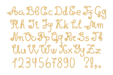 Yellow nautical rope alphabet, hand-drawn vector letters and numbers.