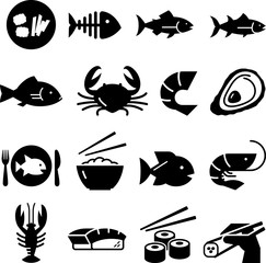 Seafood Icons - Black Series