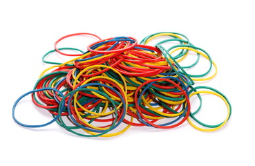 pile colorful rubber bands isolated on white