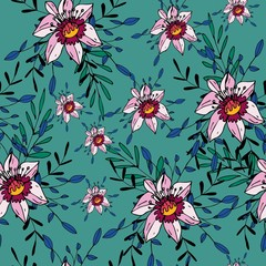 Seamless pattern with cute simple flowers. Floral ornament for textiles, Wallpaper, packaging.