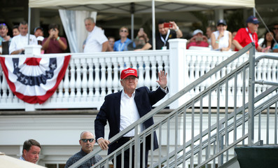 Trump attends the U.S. Women's Open at his golf course in Bedminster, New Jersey