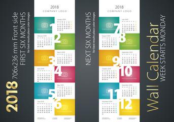 Calendar 2018 week starts monday color background