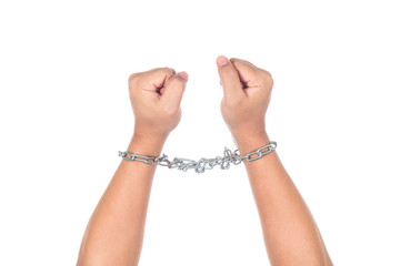 Hands in chain isolated on white background
