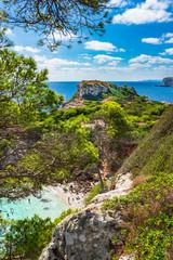 Spain Majorca Mediterranean Sea Coast Bay with view of the beautiful beach Cala des Moro