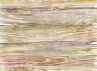 Watercolor wood background. Hand drawn natural texture with knots. Painting vintage illustration