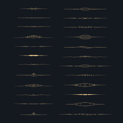 Dividers vector set. Vector set of calligraphic design elements and page decor. Gold decorative elements on black background.