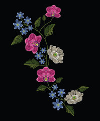 Embroidery stitches with orchid, magnolia and hepatica flower.. Decoupage. Vector fashion ornament on black background for traditional floral decoration. Pattern for textile and fabrics.