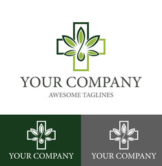 cannabis therapy medical and healthcare Logo Design Template. Flat Style Design. Vector Illustration