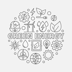 Green energy linear illustration