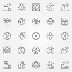 Nuclear power icons set