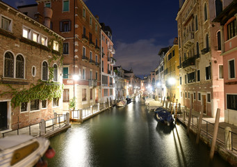 Venice, Italy. Canal Rio de la Fornace in the Venetian quarter of Dorsoduro at night.
