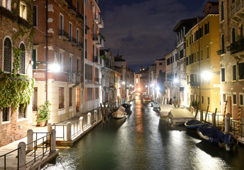 Canal Rio de la Fornace in the Venetian quarter of Dorsoduro at night, Venice, Italy.