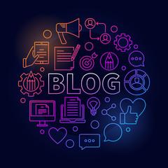 Blogging round colorful vector illustration