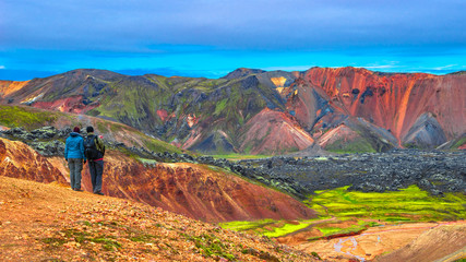 Beautiful colorful volcanic mountains Landmannalaugar in Iceland Wall mural