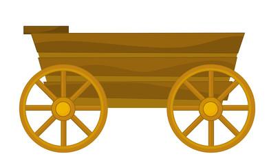 cartoon wooden wagon - illustration for children