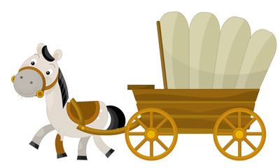 cartoon wooden wagon with horse - illustration for children