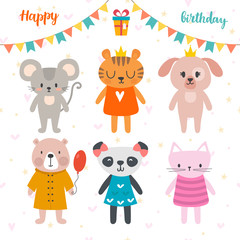 Happy birthday design with cute cartoon animals. Funny postcard