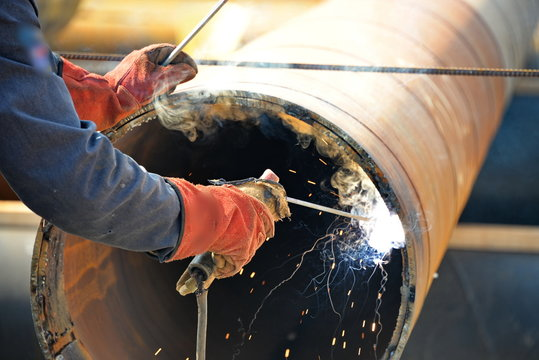 Pipe welding and welder