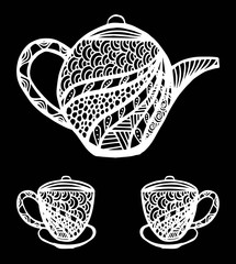 Zentangle stylized ornamental teapot with cups of tea, hot beverage with artistically doodle elements. Ethnic hand drawn illustration.