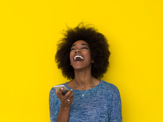 young black Woman Using mobile phone