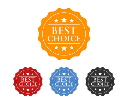 Best choice badge label seal, burst, or sticker stamp flat vector icon for packaging